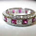 bands - Ruby and Diamond 3-Sided Platinum Eternity