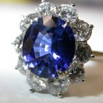 ring - Fine Oval Blue Sapphire and Diamond