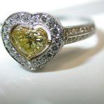 ring - Yellow Diamond Heart Border